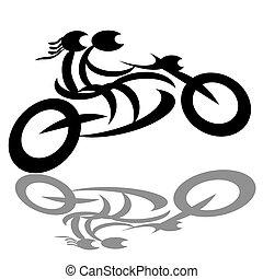 Motorradfahrer und Motorradfahrer