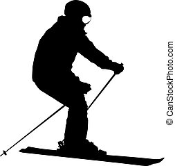 Mountain Skier, der die Piste herunterfährt, Sport Silhouette.