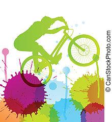 Mountainbike-Fahrer in der wilden Berglandschaft Hintergrund Illustration Vektor.