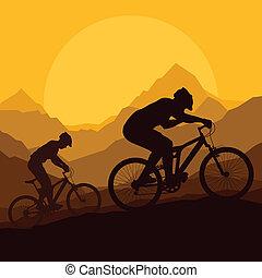 Mountainbike-Fahrer in einem wilden Mountain Naturvektor