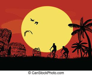 Mountainbike-Fahrer in wilden Berg.