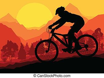 Mountainbike-Fahrer in wilden Waldberglandschaft Hintergrund Illustration Vektor.