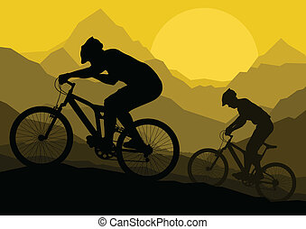 Mountainbike-Fahrer in wilder Berglandschaft Hintergrundbild Vektor.