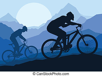 Mountainbike-Fahrer in wilder Mountain Natur