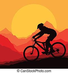 Mountainbike-Fahrer in wilder Naturlandschaft im Hintergrund Illustrationsvektor