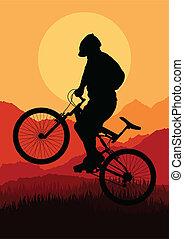 Mountainbike-Fahrer Vektor.