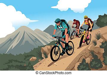 Mountainbiker in den Bergen.