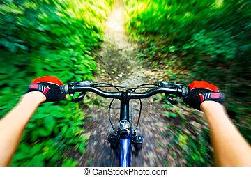 Mountainbiking Down Hill. Blick vom Biker.