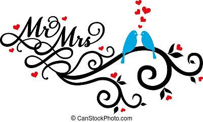 Mr. und Mrs. Hochzeitsvögel, Vektor.