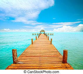 mujeres, mexiko, landungsbrücke, concept., urlaube, isla, tourismus