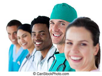 multi-ethnisch, mannschaft, lächeln, medizin