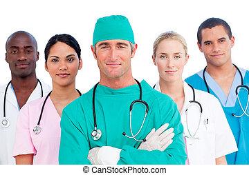 multi-ethnisch, medizinische mannschaft, porträt