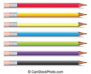 multi-gefärbt, sieben, satz, bleistifte, colours., vektor, abbildung