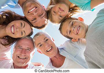 multi, lächeln, generation, familie