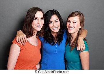 multi, mädels, drei, am besten, rassisch, freund