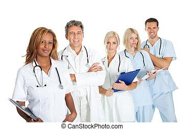 multi, medizin, ethnisch, gegen, mannschaft, lächeln, weißes