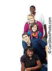 multi-rassisch, studenten, weißes, hochschule