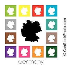 multicoloured, landkarte, deutschland, land