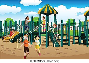 Multiethnische Kinder spielen auf dem Spielplatz