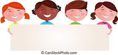 Multikulturelle Kinder mit Banner