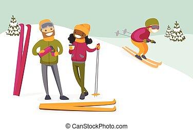 Multikulturelles Paar trinken Kaffee im Skigebiet