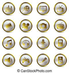 Multimedia-Gold-Ikonen aufgestellt