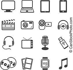 multimedia, ikone, sätze