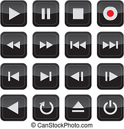 Multimedia-Kontrolle Glussy Icon Set