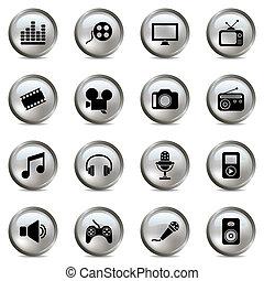 Multimedia-Silber-Ikonen eingestellt