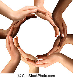 multirassisch, machen, kreis, hände