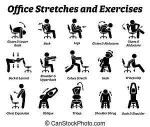 muscle., entspannen, strecken, übungen, arbeitende , spannung, buero