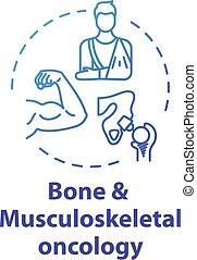 musculoskeletal, ikone, onkologie, begriff, knochen