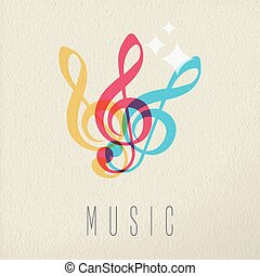 Music concept musical note audio icon color design