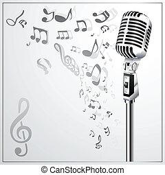 Musical-Hintergrund mit Retromikro