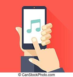 Musik-App auf Smartphone-Bildschirm