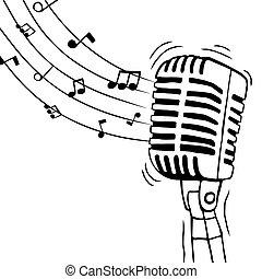 musik, freigestellt, notizen, mikrophon, musikalisches
