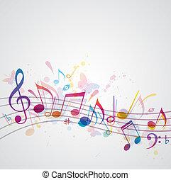 Musik Hintergrund mit Schmetterlingen
