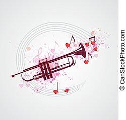 Musik Hintergrund mit Trompete.
