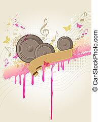Musik mit Lautsprechern.