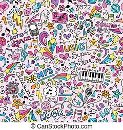 Musik-Notebook Doodles-Muster.