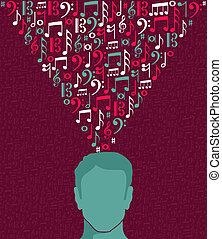 Musik zeichnet menschliche Männer mit Kopf illustriert