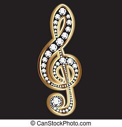 Musikalische Noten in Gold und Diamanten