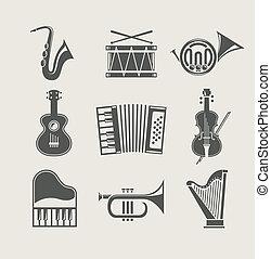 Musikinstrumente mit Symbolen