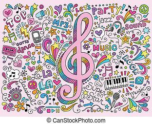 Musikklaue und Notizen groovy Doodles