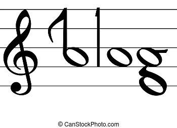 Musiknoten-Blog-Wortdesign