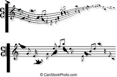 Musiknoten mit Vögeln, Vektor