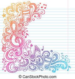 Musiknoten sind zwielichtige Zeichnungen