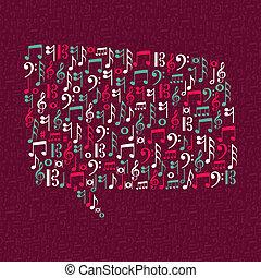Musiknoten spiegeln die Sprache ab