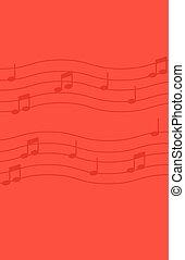 Musiknotizen über den roten Hintergrund.