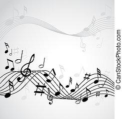 Musiknotizen auf einem weißen Hintergrund.